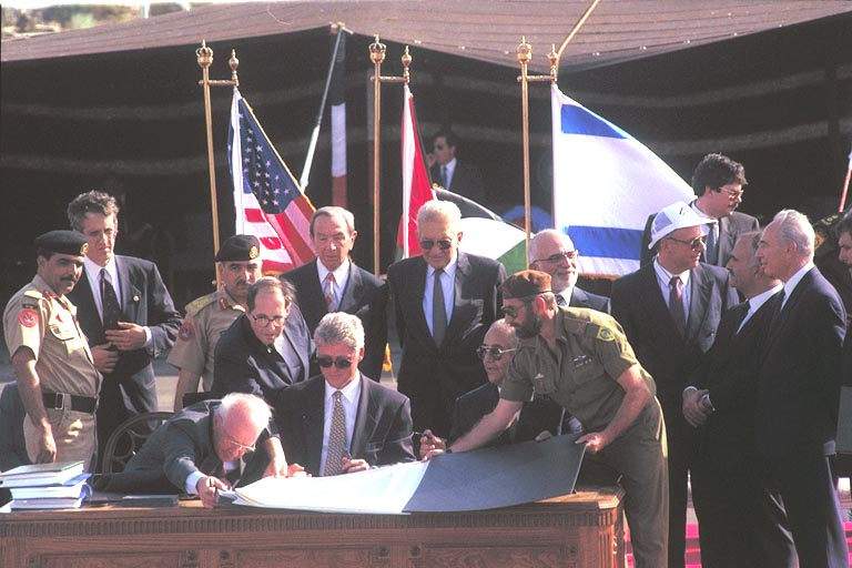The Peace Agreement between Israel and Jordan - Photo of the signing