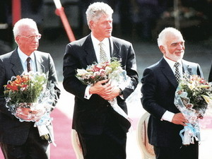The Peace Treaty between Israel and Jordan - Photo - Leaders with Flowers