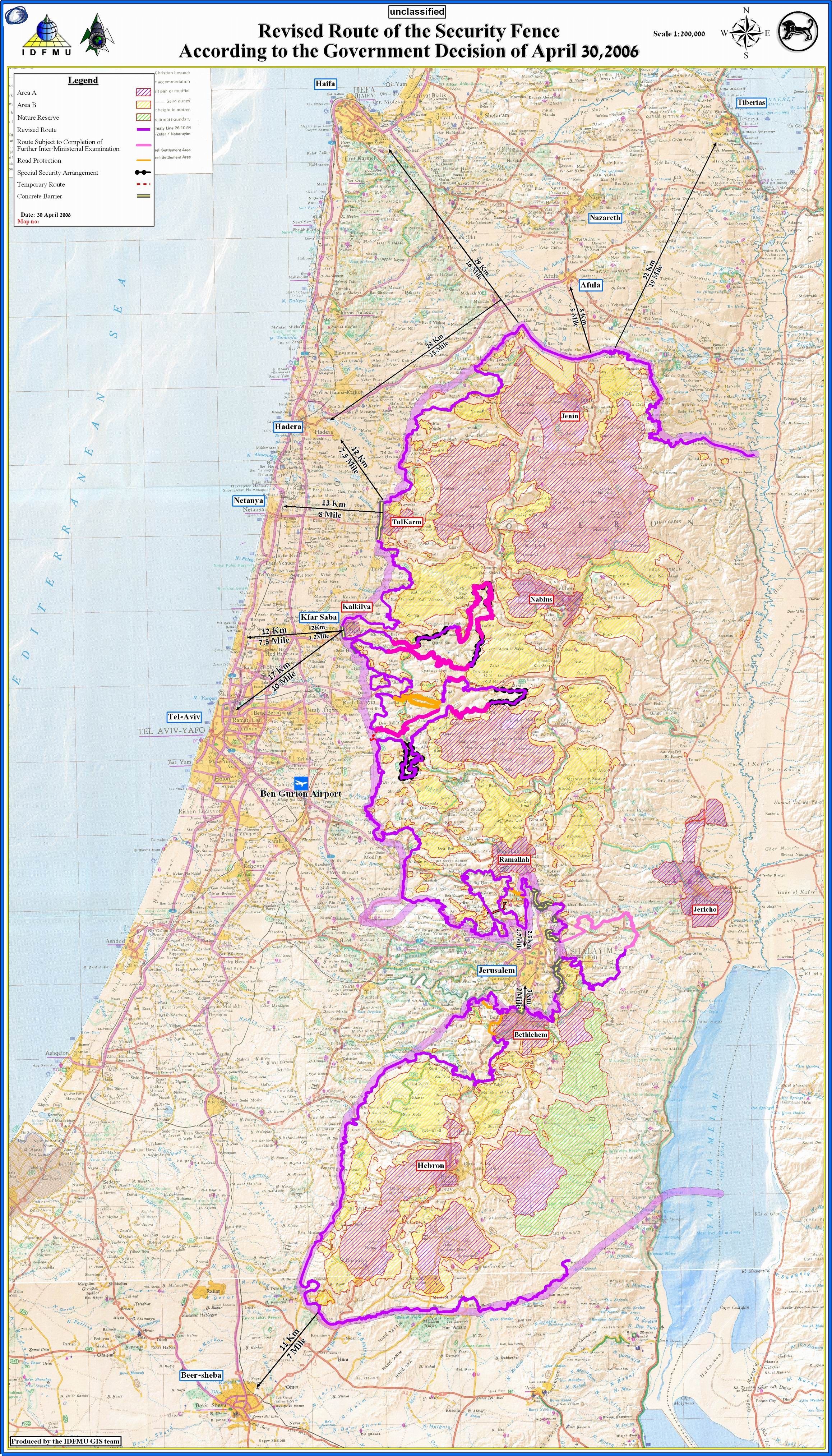 Government of Israel Resolution 4783 on the Separation Barrier - Map - English