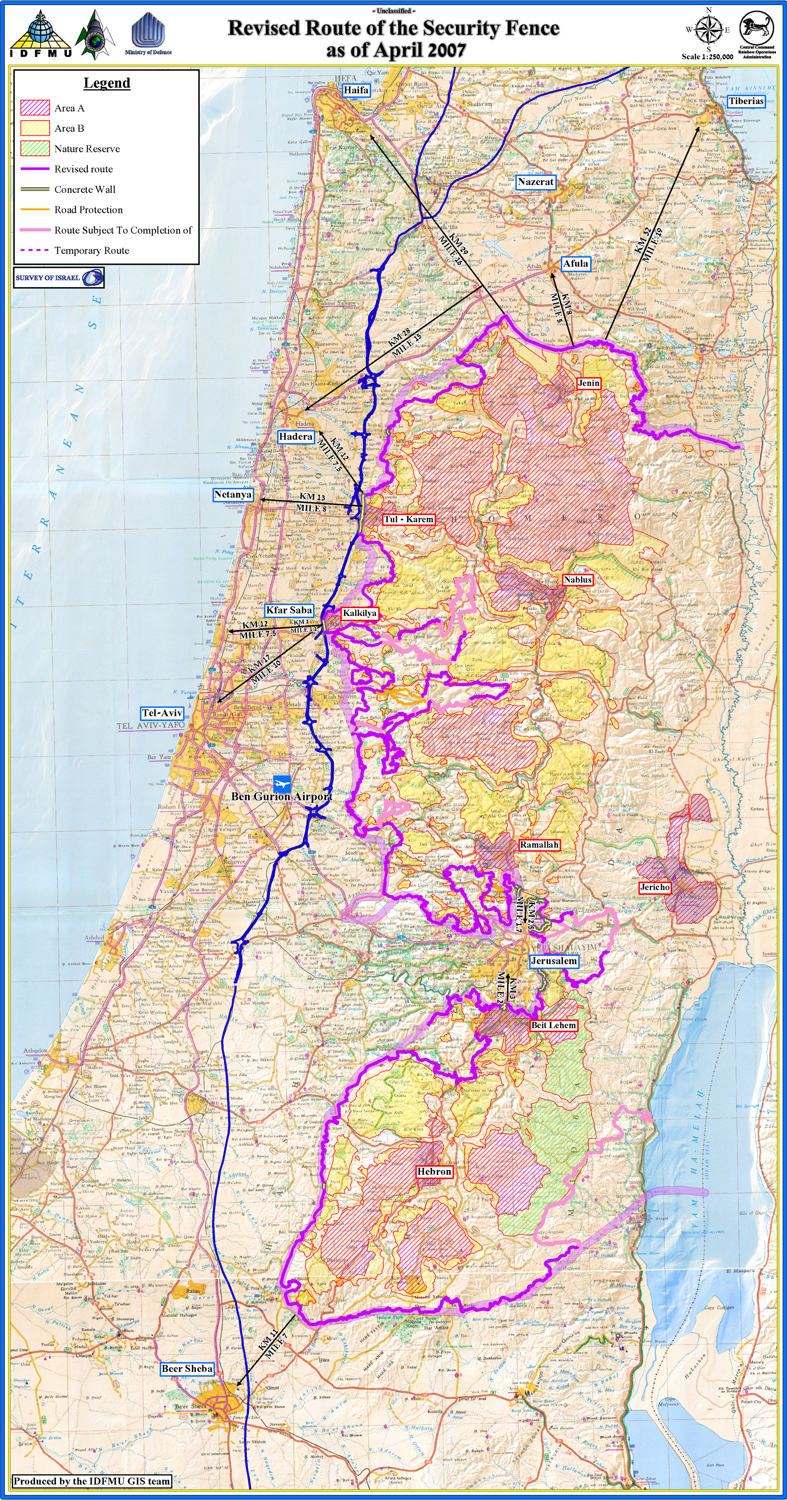 Approved Route of the Separation Barrier - April 2007 - Map - English