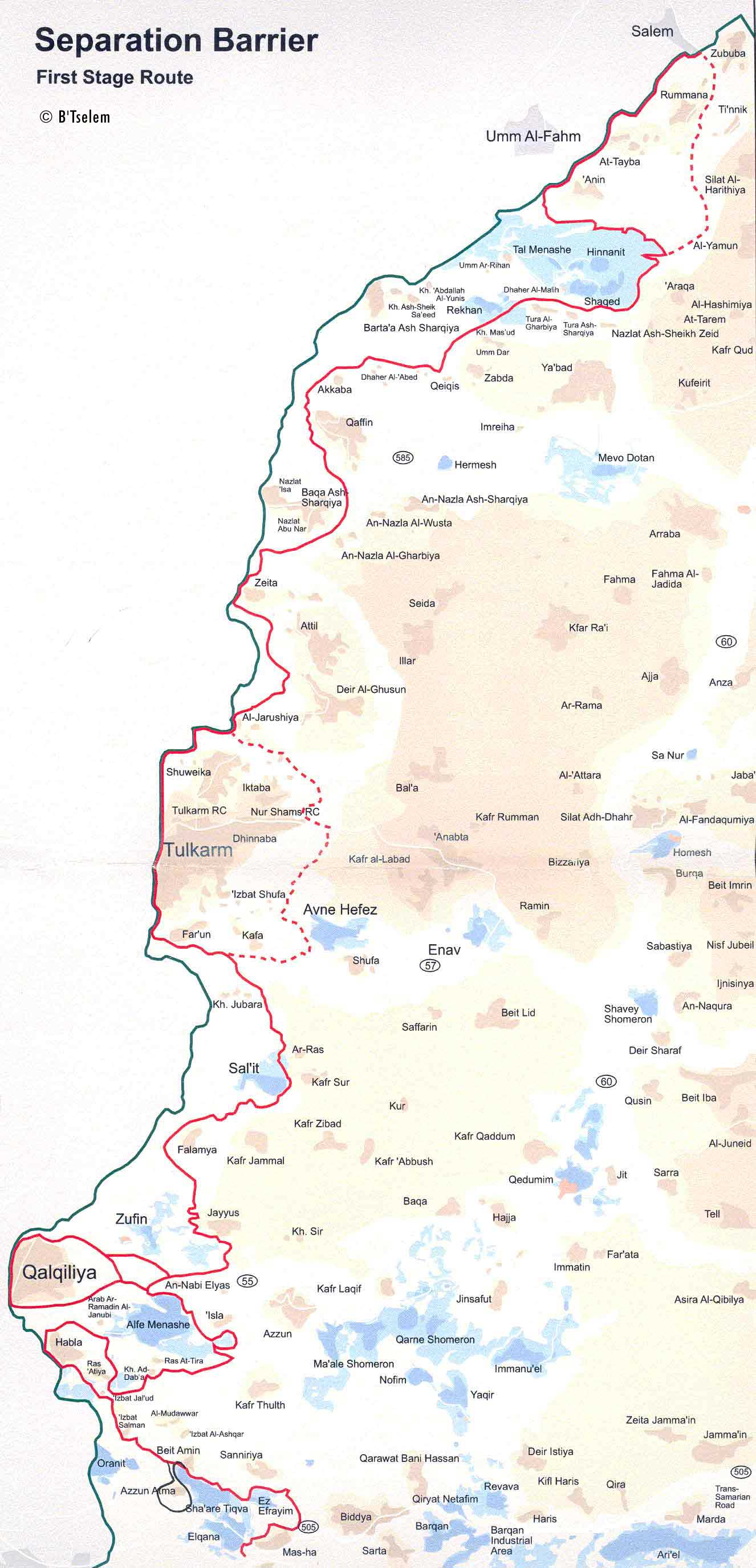 Separation Barrier Phase A Map