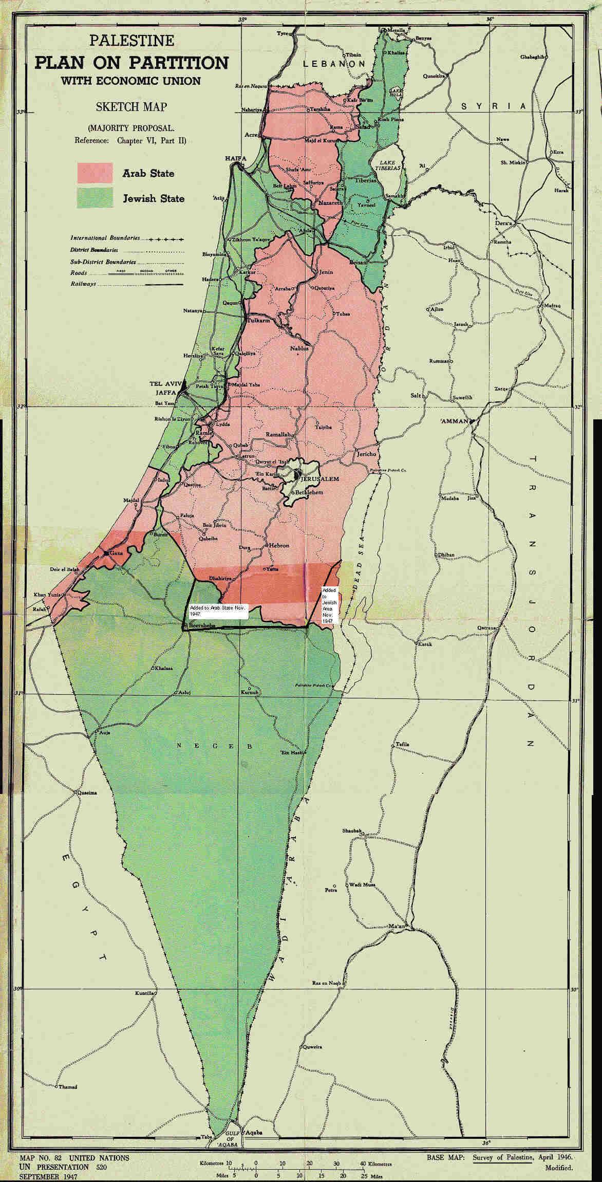 UNSCOP Majority Proposal - Map - English (1947)